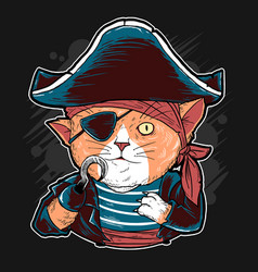 cat cute pirates artwork vector image