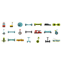 city transport icon set flat style vector image