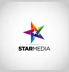 colorful star logo design symbol vector image