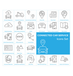 Connected car service icons set vector