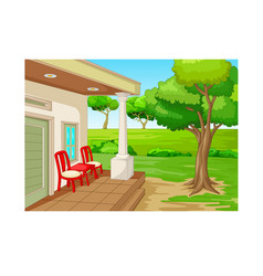 Cool terrace with grass hill and back yard cartoon vector
