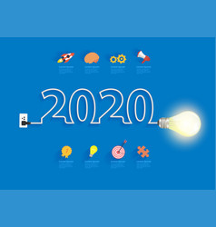 Creative light bulb idea 2020 new year design vector