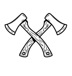 Crossed lumberjack axes isolated on white vector