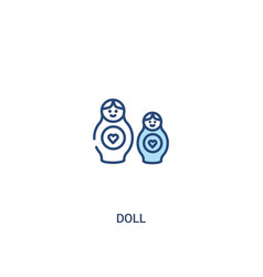 doll concept 2 colored icon simple line element vector image