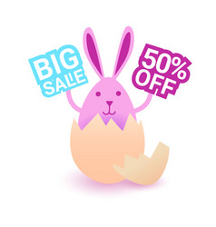 easter bunny hold big easter sign shopping holiday vector image