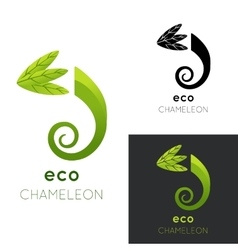 Eco chameleon logo isolated vector