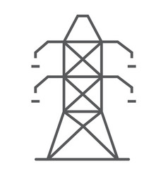 electric tower thin line icon ecology and energy vector image
