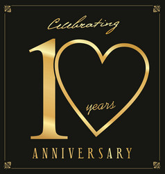 elegant black and gold anniversary background 10 vector image
