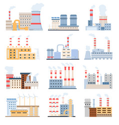 factory buildings eco power plants with solar vector image