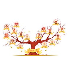 Family tree horizontal cartoon vector