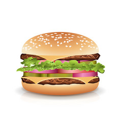 fast food realistic burger hamburger icon vector image