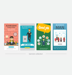 Flat businessman colorful vertical banners vector