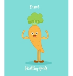 Funny carrot with biceps vector