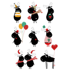 funny set with cute moose vector image