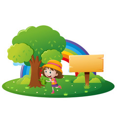 Girl and wooden sign in the park vector