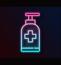 Glowing neon line bottle liquid antibacterial vector