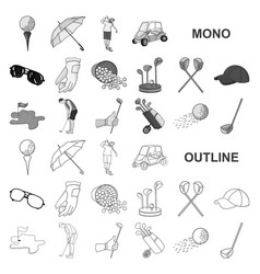 golf and attributes monochrom icons in set vector image