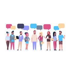 Group of hipsters people with chat bubbles casual vector