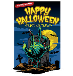 Halloween card design with zombie hand vector