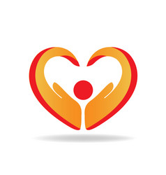 Hands protection heart shape logo vector
