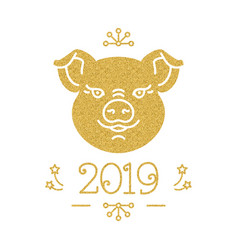 happy new year and christmas card 2019 year of vector image