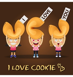 Happy people carrying big fortune cookies vector