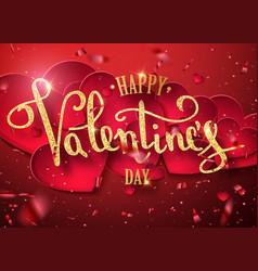 happy valentines day gold handwritten text vector image