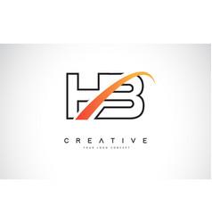 Hb h b swoosh letter logo design with modern vector