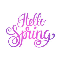 Hello spring season text banner over white vector