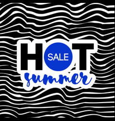 hot summer sale text on wavy background vector image
