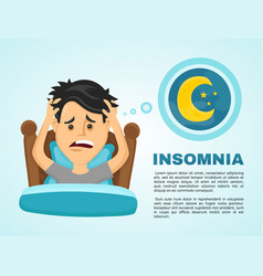 insomnia infographicyoung man suffers vector image