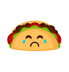 Isolated sad taco emote vector