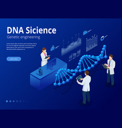 Isometric digital dna structure in blue background vector