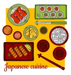 Japanese cuisine dinner colorful sketch icon vector image