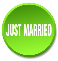Just married green round flat isolated push button vector