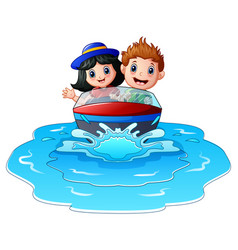 kids riding a motor boat on the beach vector image