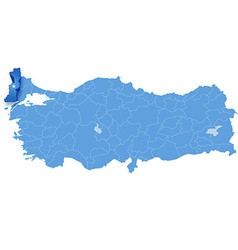 Map of Turkey Edirne vector