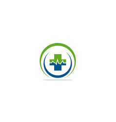 medic cross pulse logo vector image