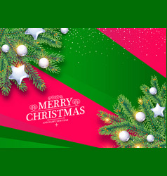 merry christmas background with fir tree branches vector image
