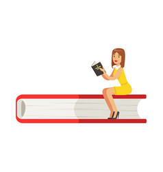 micro young woman sitting on a giant book girl vector image