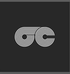 Monogram initials oc or co letters logo parallel vector