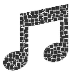 Music collage of squares and circles vector