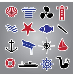 Nautical icon stickers collection eps10 vector