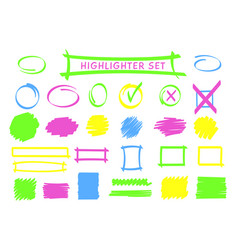 neon highlight pen frame and scribble set vector image