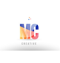 Orange blue alphabet letter mc m c logo icon vector