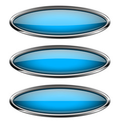 Oval blue glass buttons with metal frame vector