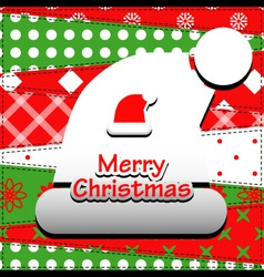 Patchwork background with christmas hat vector