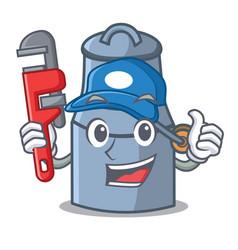 plumber milk can mascot cartoon vector image