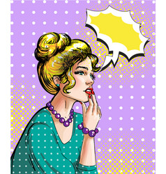 pop art of dreamy blonde woman vector image