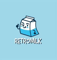 retro milk cartoon cute logo icon vector image